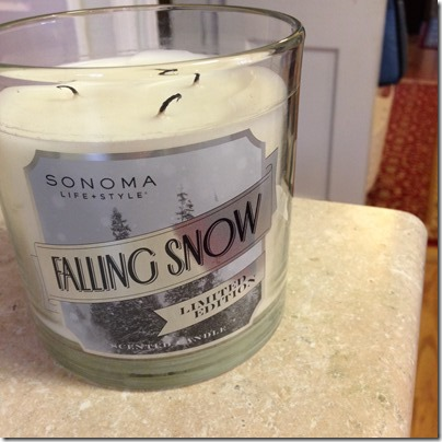 falling snow candle